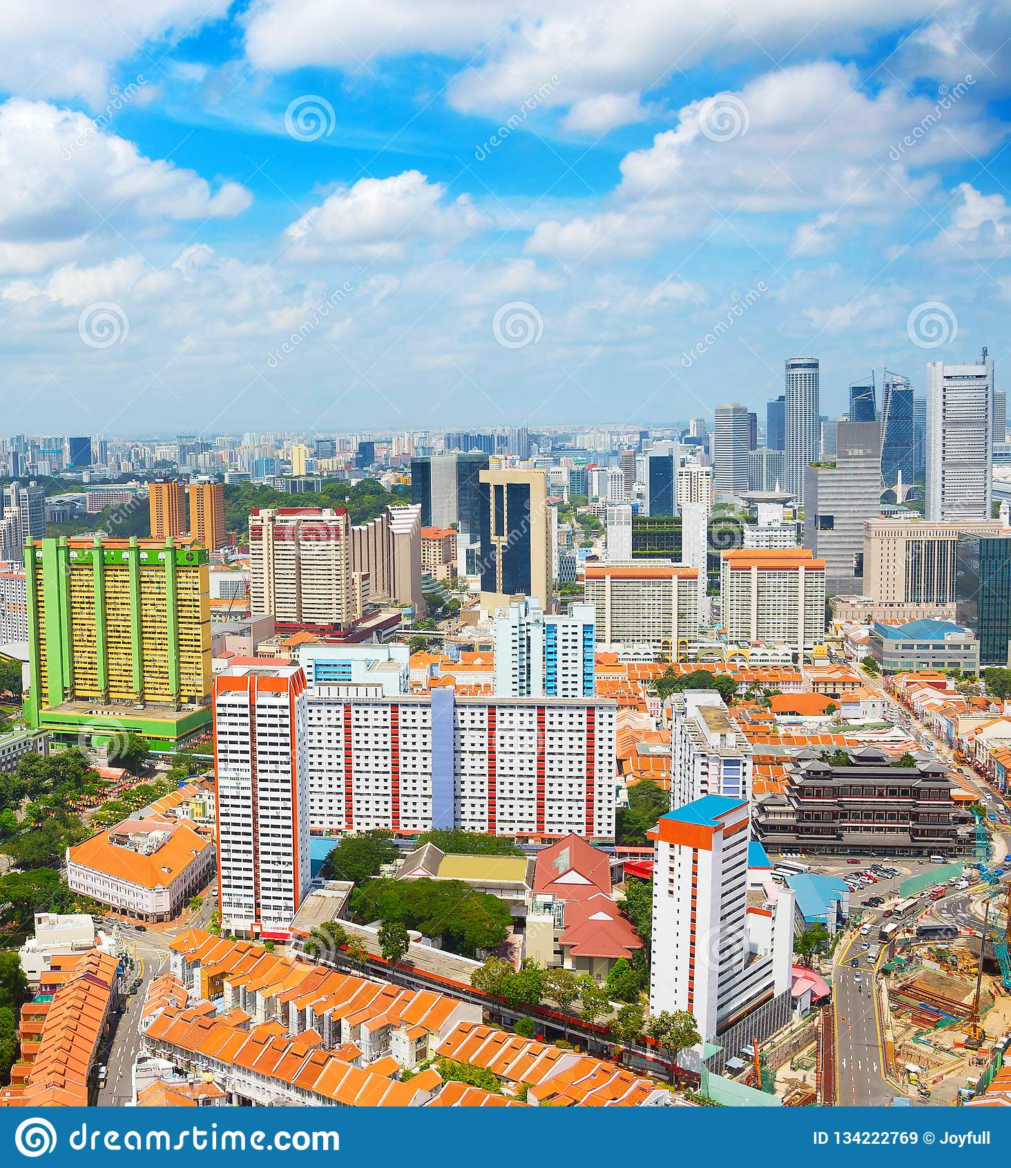 Aerial skyline of Singapore