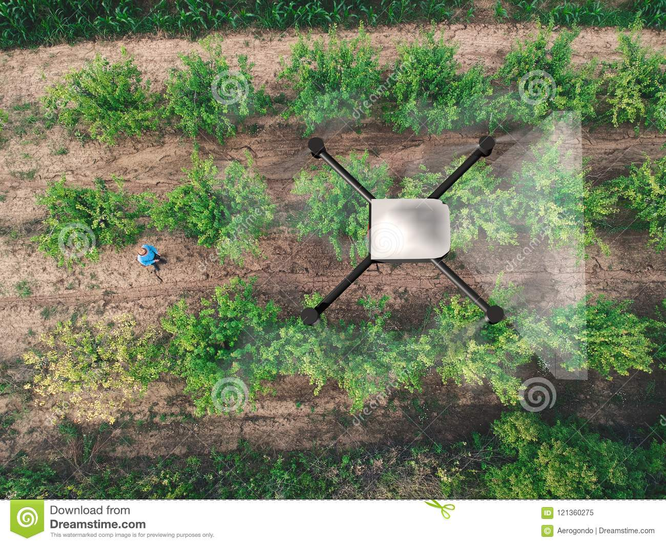 Aerial Soil Spraying With Drone Stock Image - Image of
