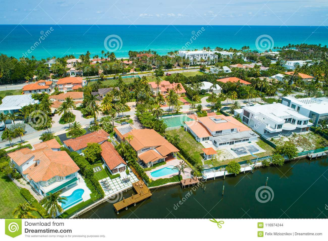 Aerial Luxury Homes Waterfront In Miami Florida Shot With A Drone