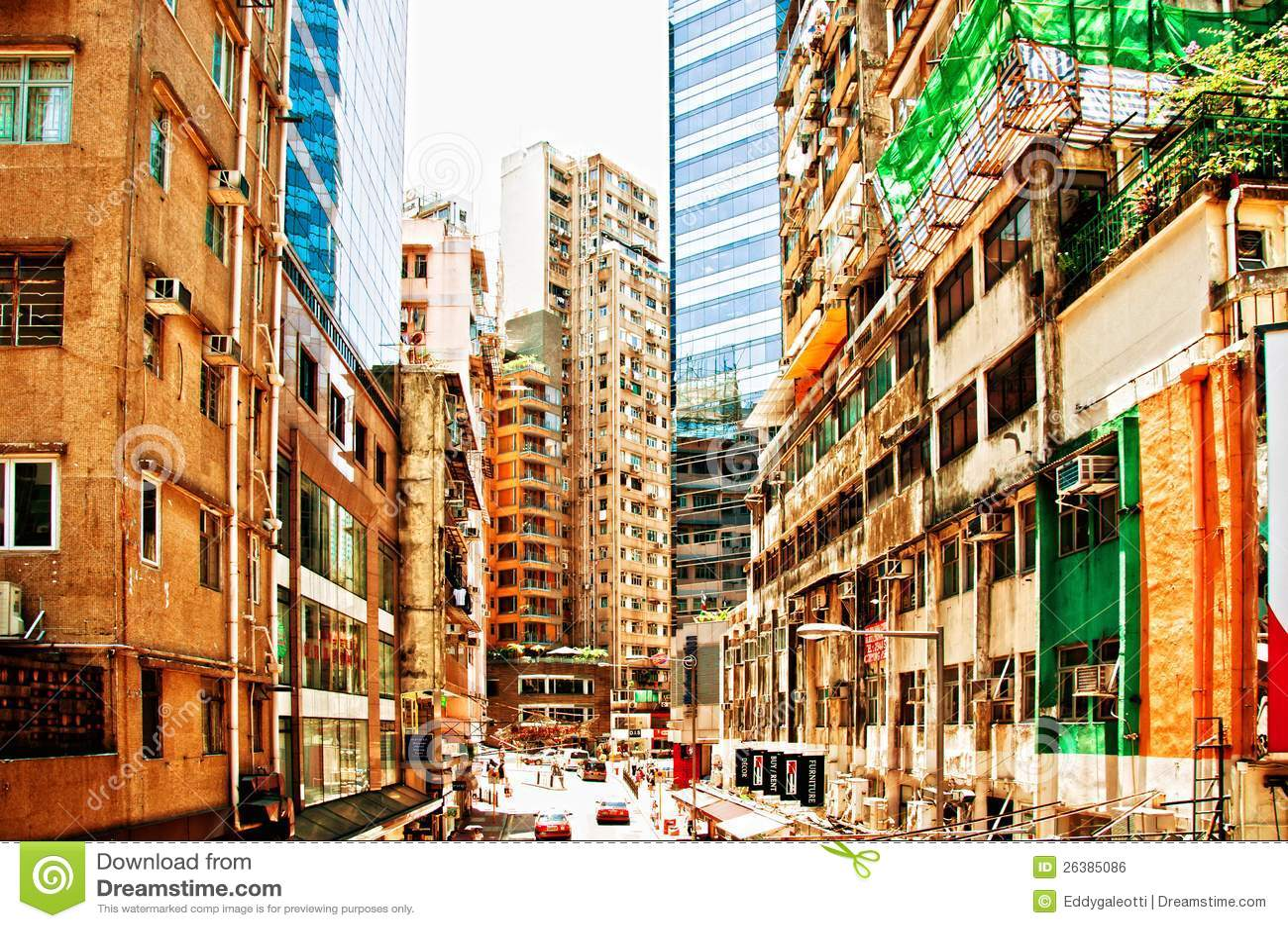 aerial street view in wan chai hong kong editorial photo image