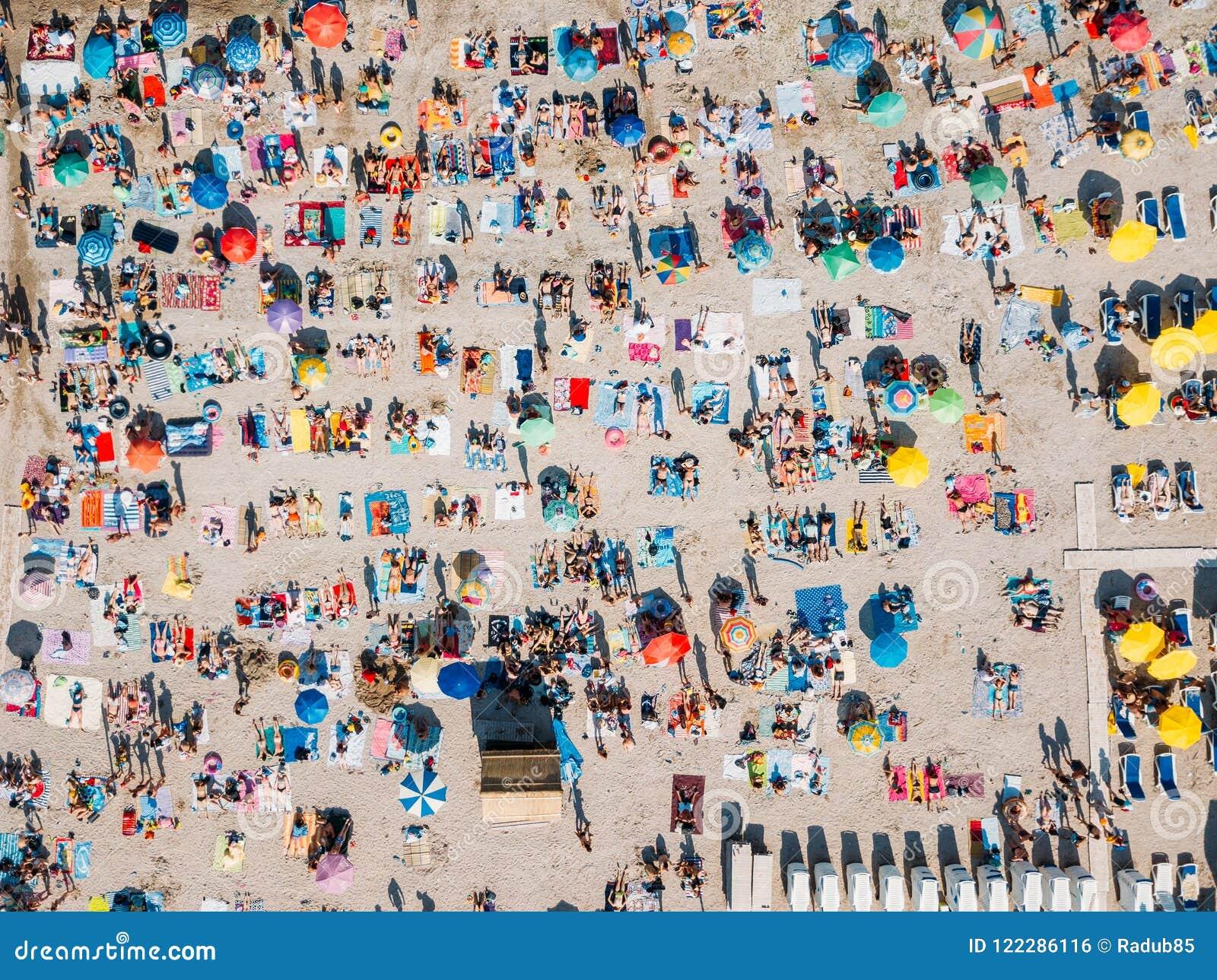 Aerial Summer View Of Beach Full Of People