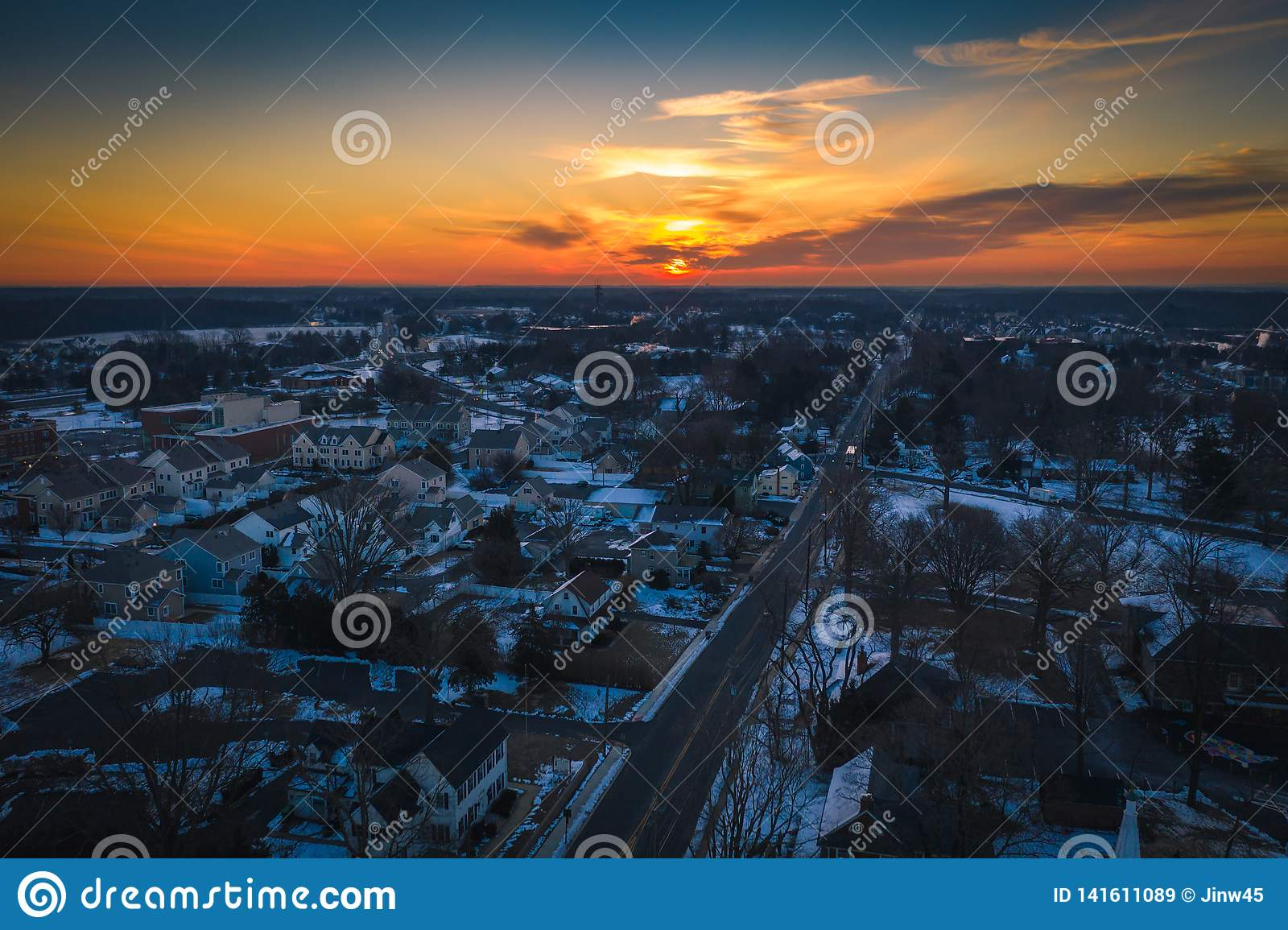 Drone Of Sunrise Sky In Plainsboro Highway New Jersey Stock