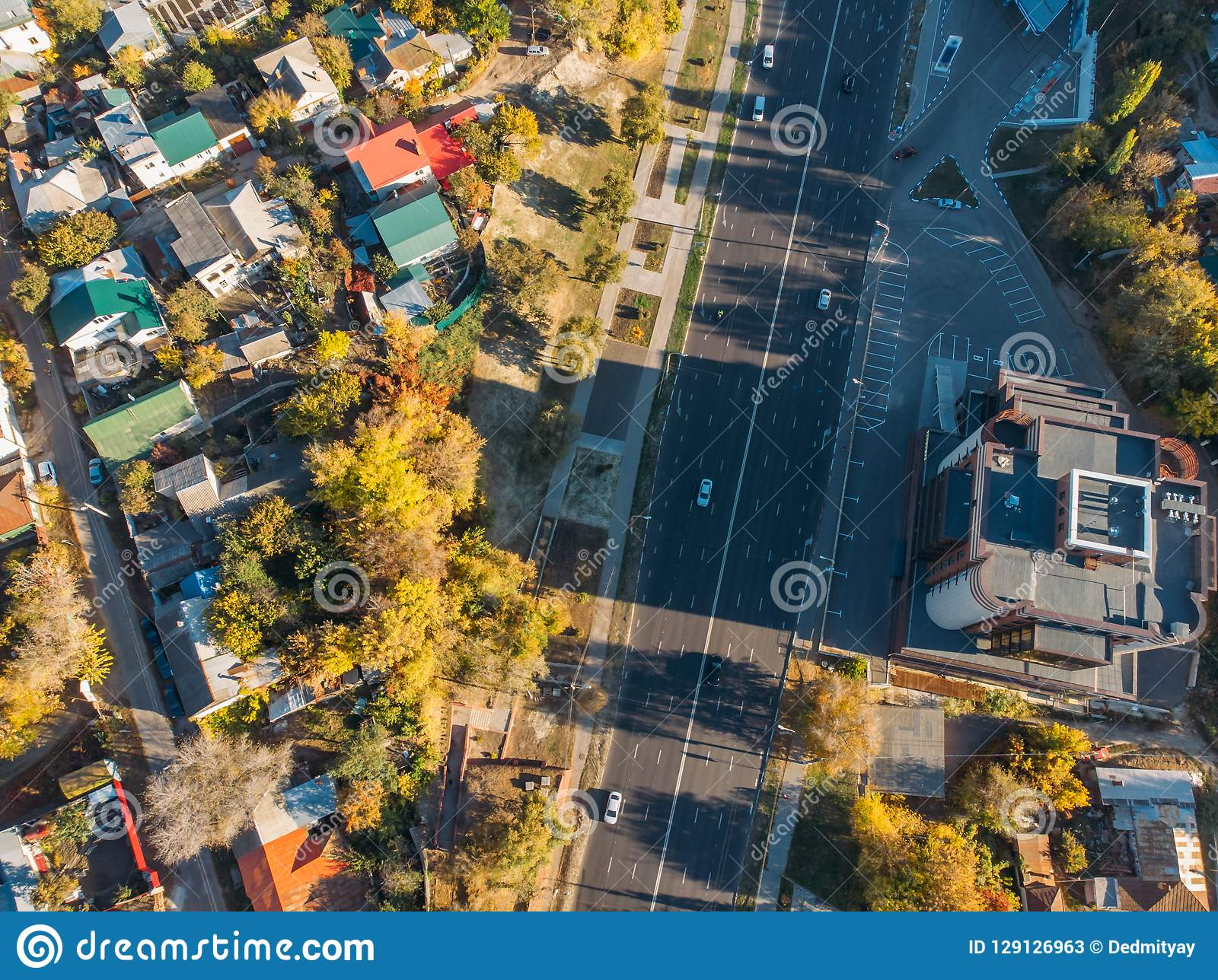 Aerial Or Top View Of Asphalt Road And Street With Cars In ...