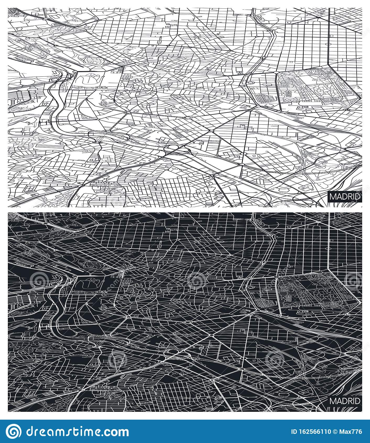Black And White Madrid aerial top view city map madrid, black and white detailed
