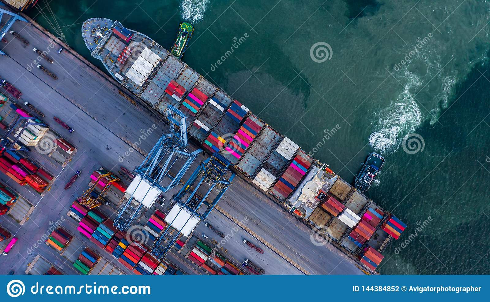 Aerial Top View Container Cargo Ship Unloading In Import
