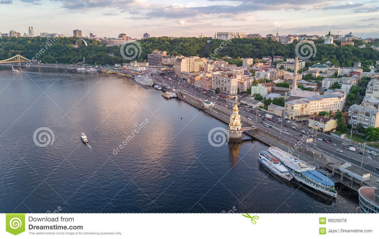 Aerial top view of Dnepr river and Podol district from above, Kiev Kyiv city