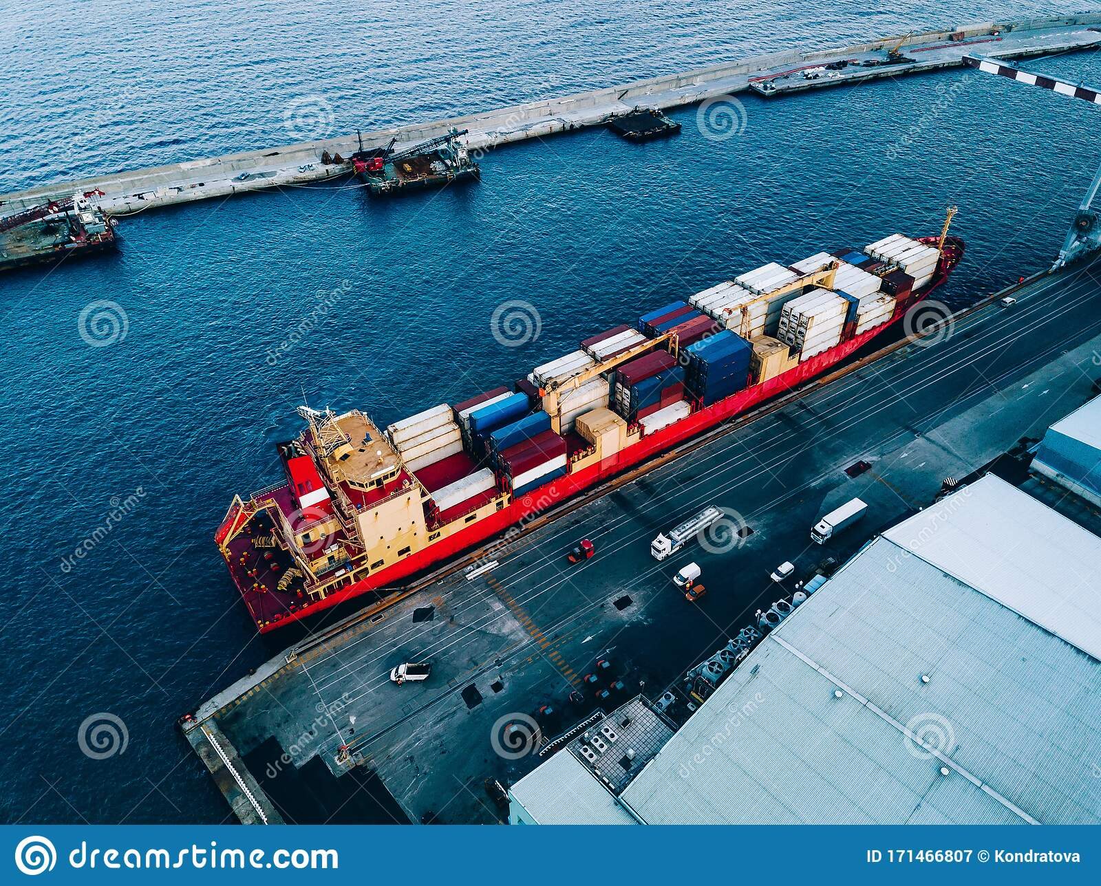 Aerial Top View Of Industrial Cargo Container Ship In ...