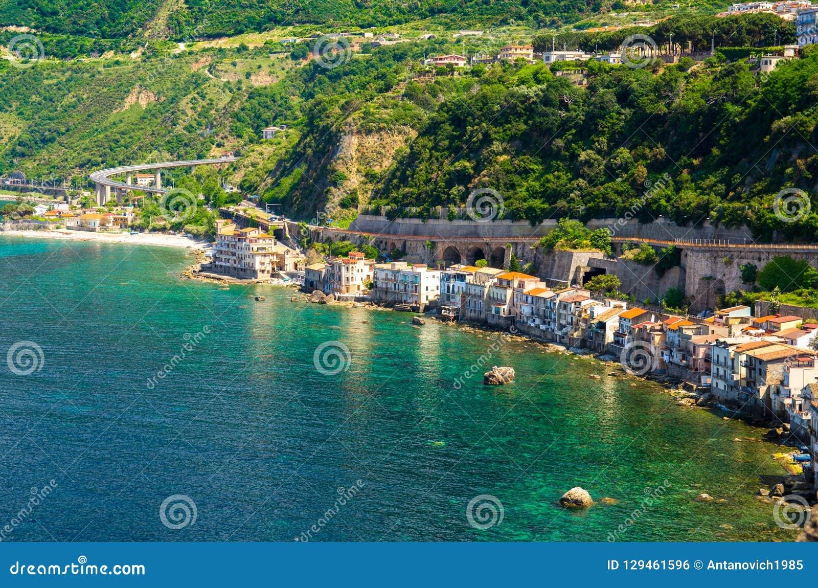 Aerial top view of small fishing village Chianalea di Scilla, It