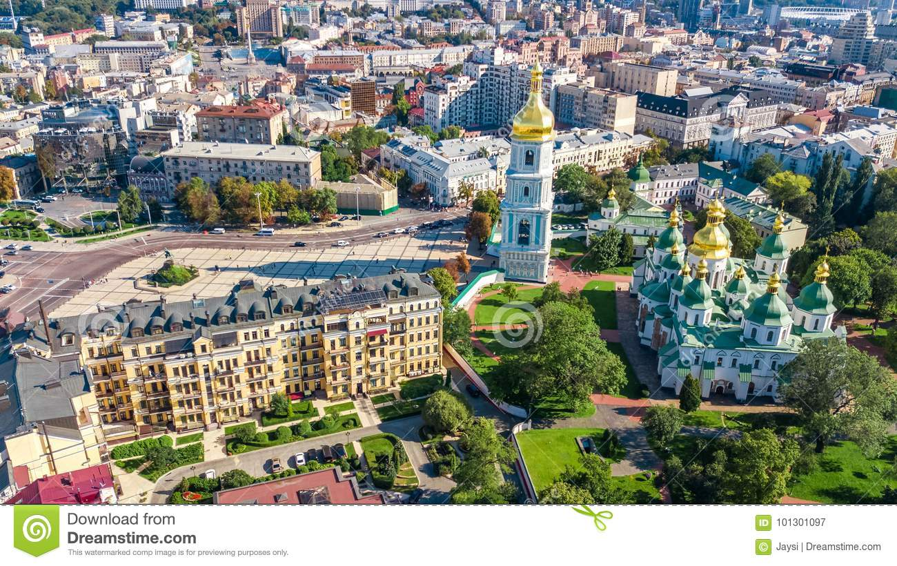Aerial top view of St Sophia cathedral and Kiev city skyline from above, Kyiv cityscape, Ukraine