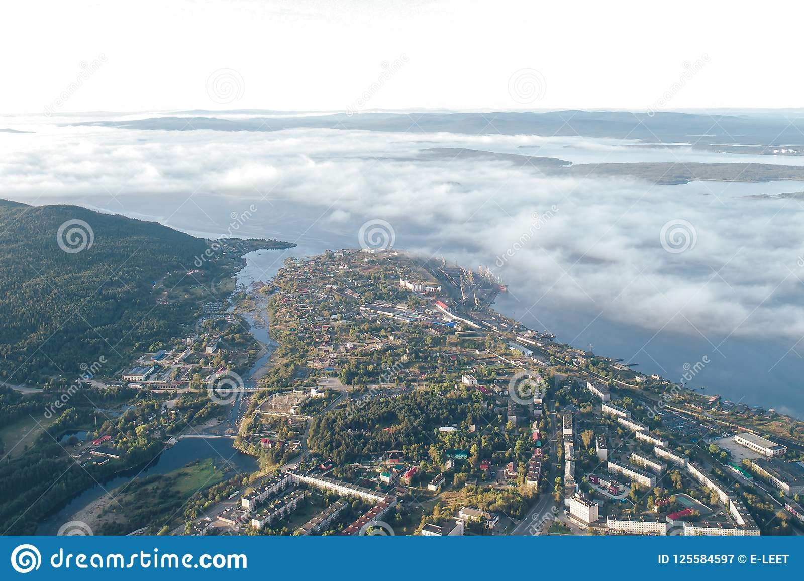 Aerial Townscape of Kandalaksha Town