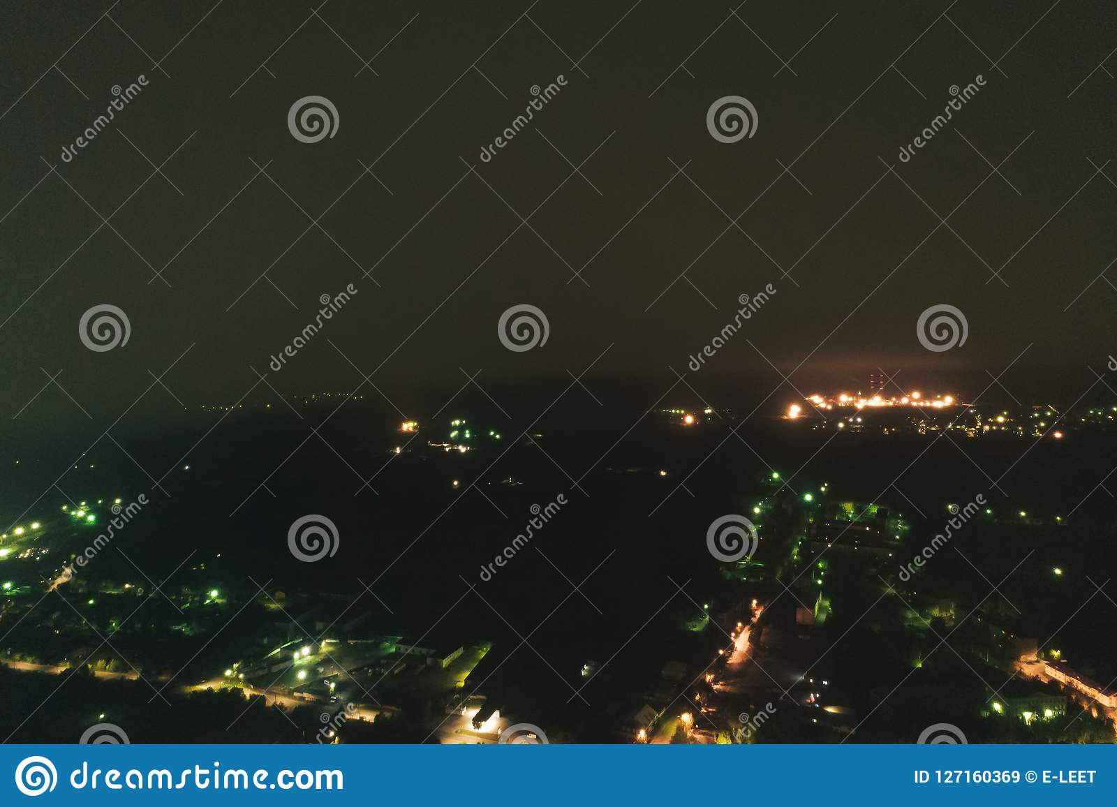 Aerial Townscape at Night