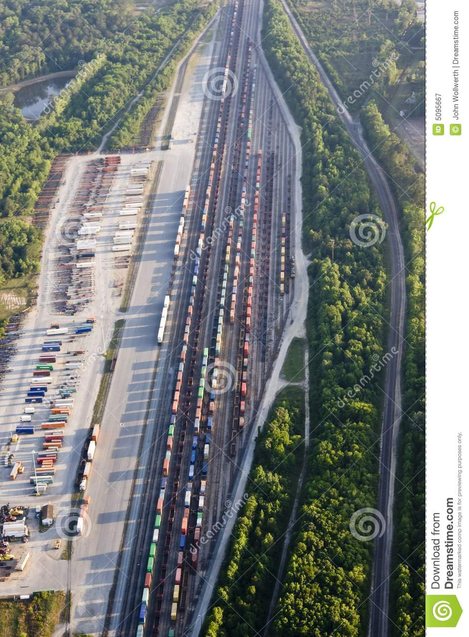 Aerial Train Yard Royalty Free Stock Photography Image