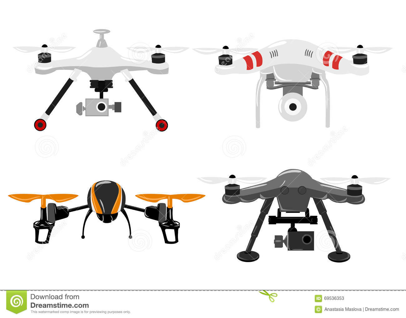 Aerial Vehicle Quadrocopter Air Drone Hovering Sketch Stock Photos