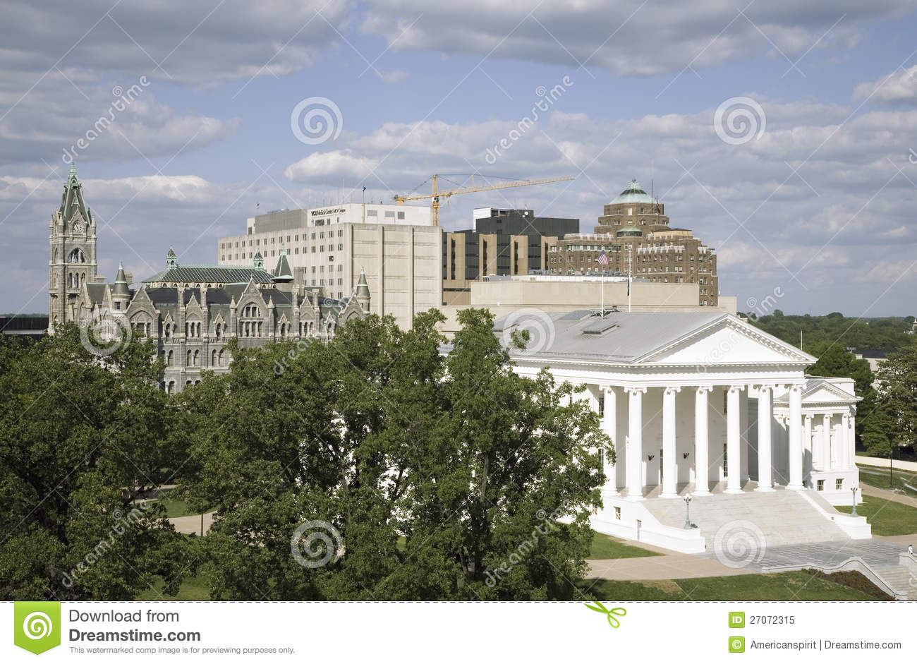 Aerial view of the 2007 restored Virginia State Capitol