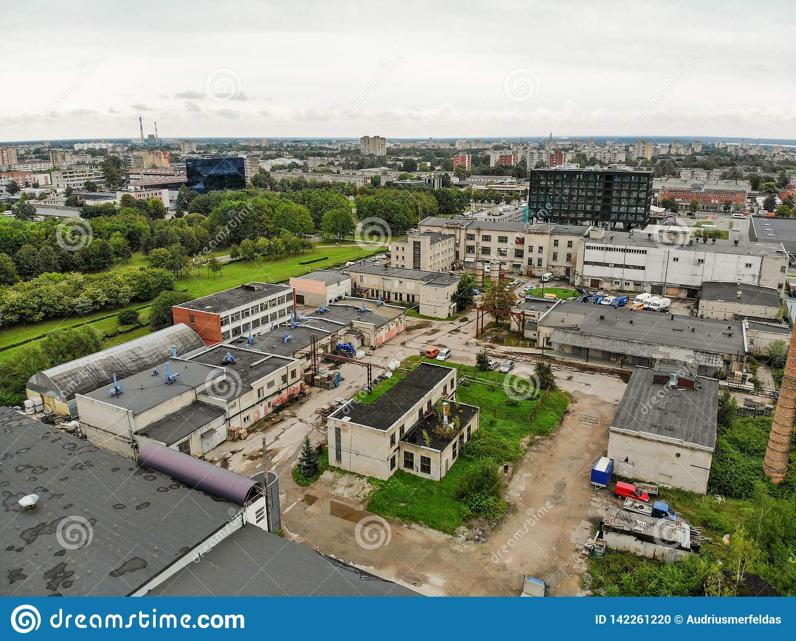 Aerial view abandoned industrial buildings in Kaunas, Lithuania