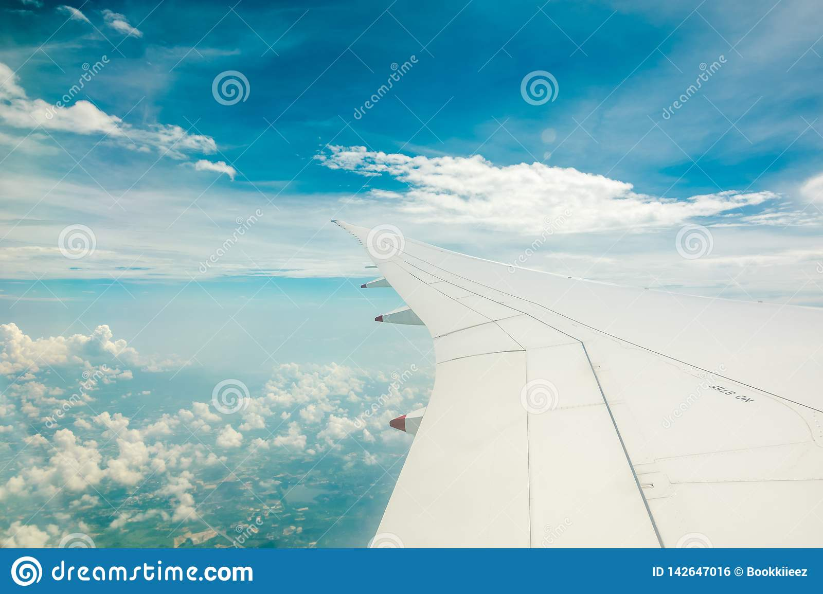 Aerial view from airplane window.