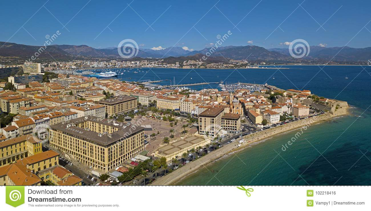 Aerial view of Ajaccio, Corsica, France. The harbor area and city center seen from the sea