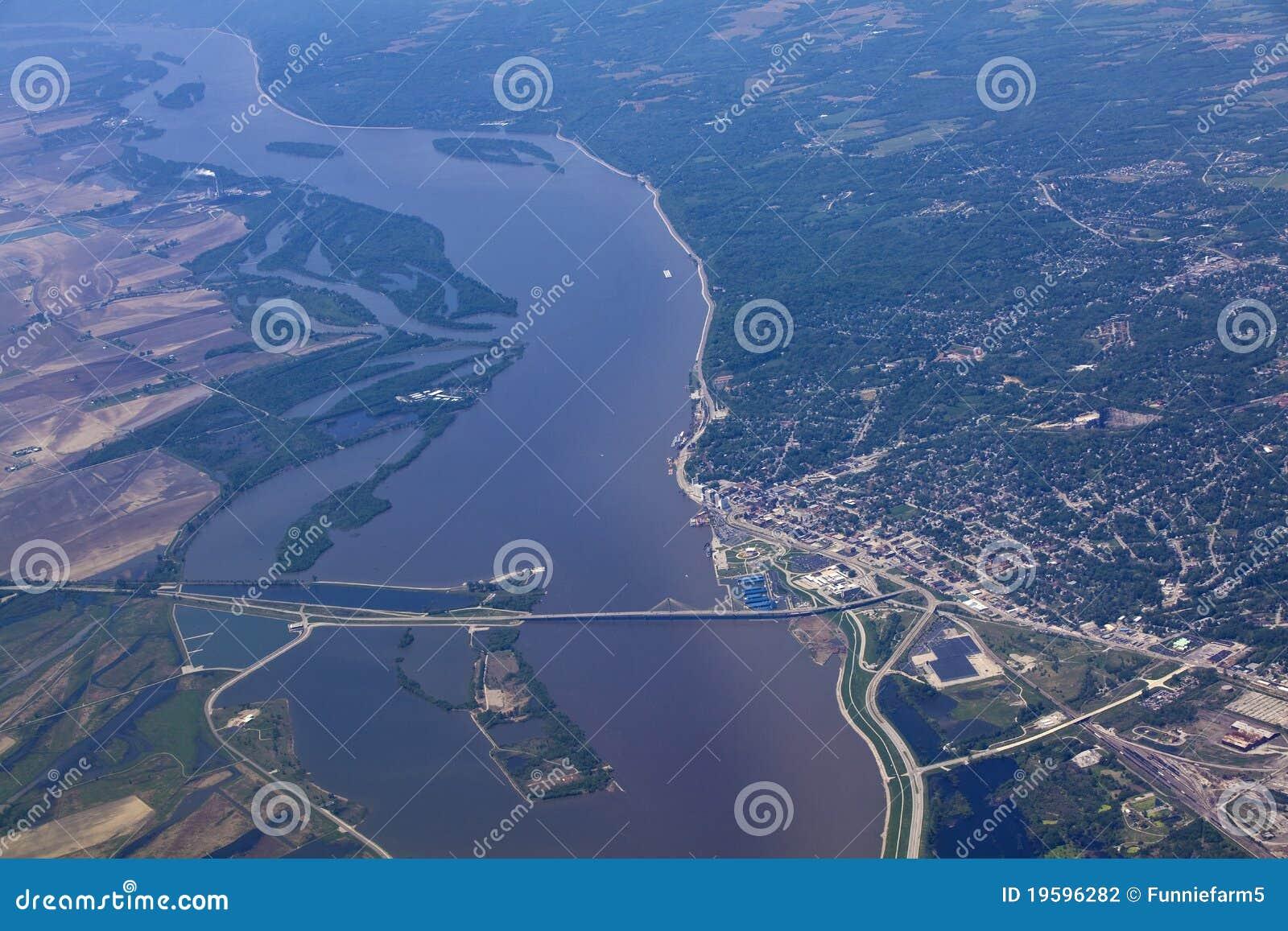 Aerial View Of Alton Illinois And The Clark Bridge Stock