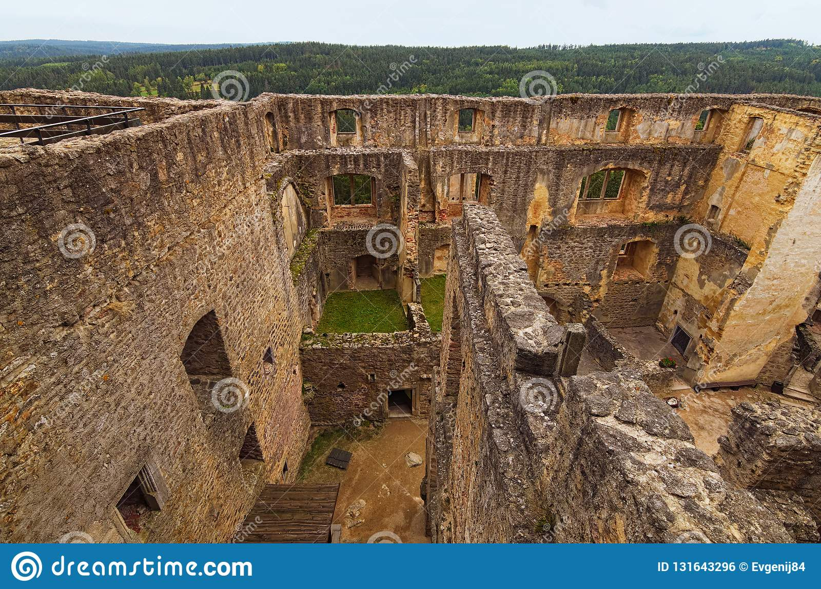 Aerial View Of Ancient Ruins Of Landstejn Castle  It Is The