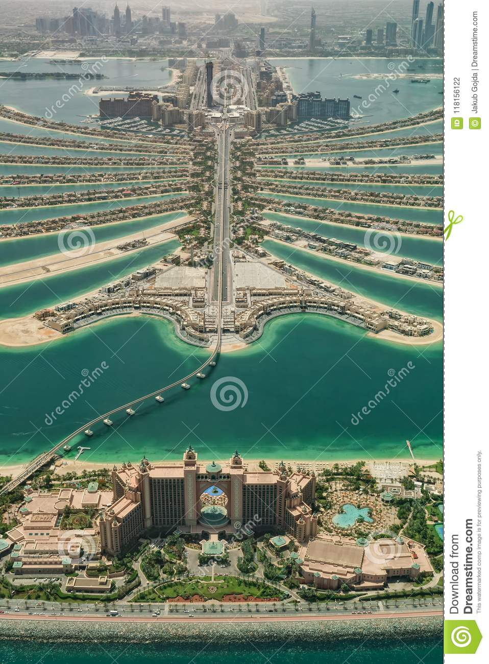 Aerial view of artificial palm island in Dubai.