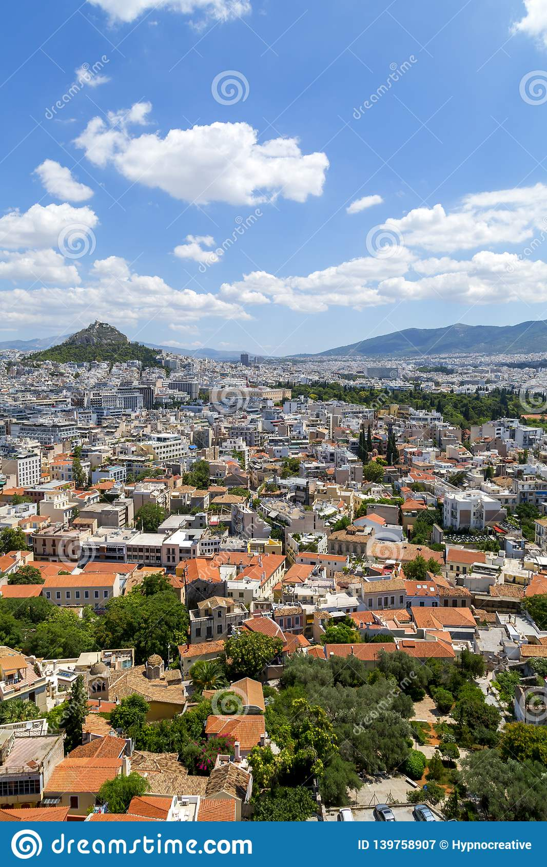 Aerial view of Athens, the capital of Greece royalty free stock photography