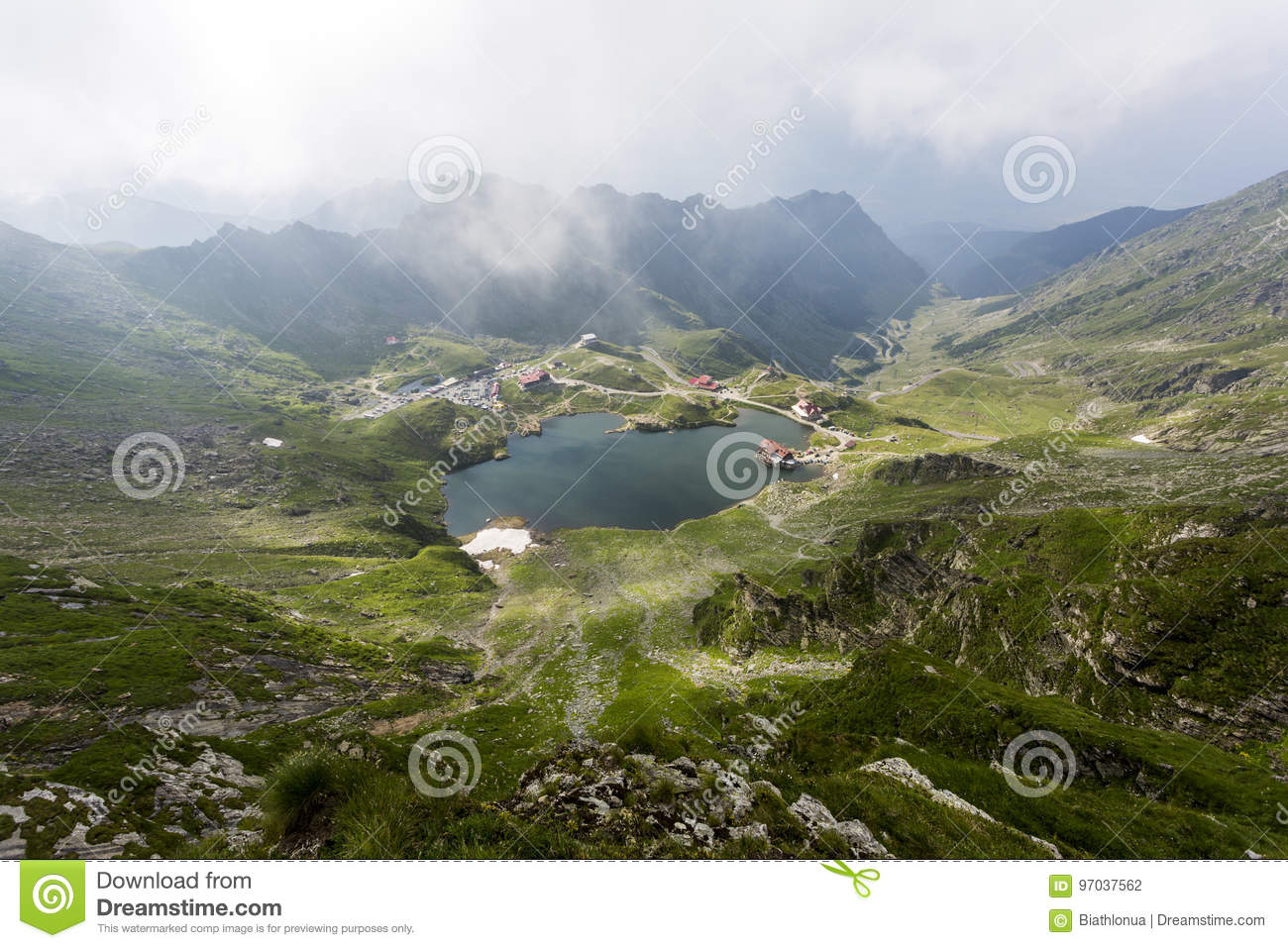Aerial view of Balea Lake in Romania