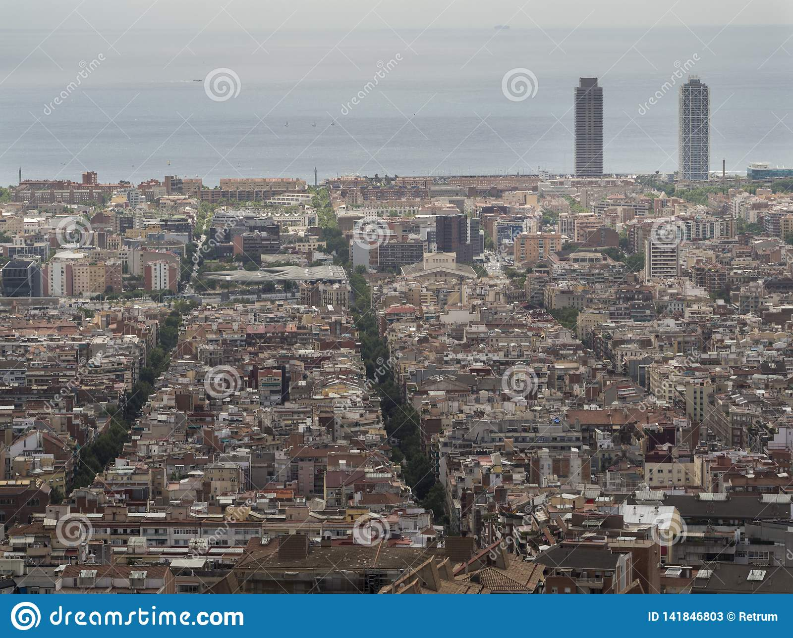 Aerial View Of Barcelona Spain Stock Image Image Of Street