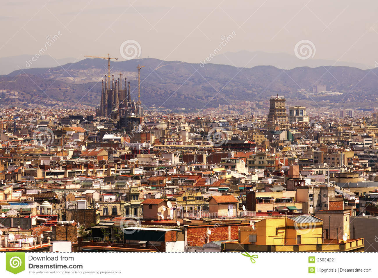 Aerial View Of Barcelona City Stock Image - Image: 26034221