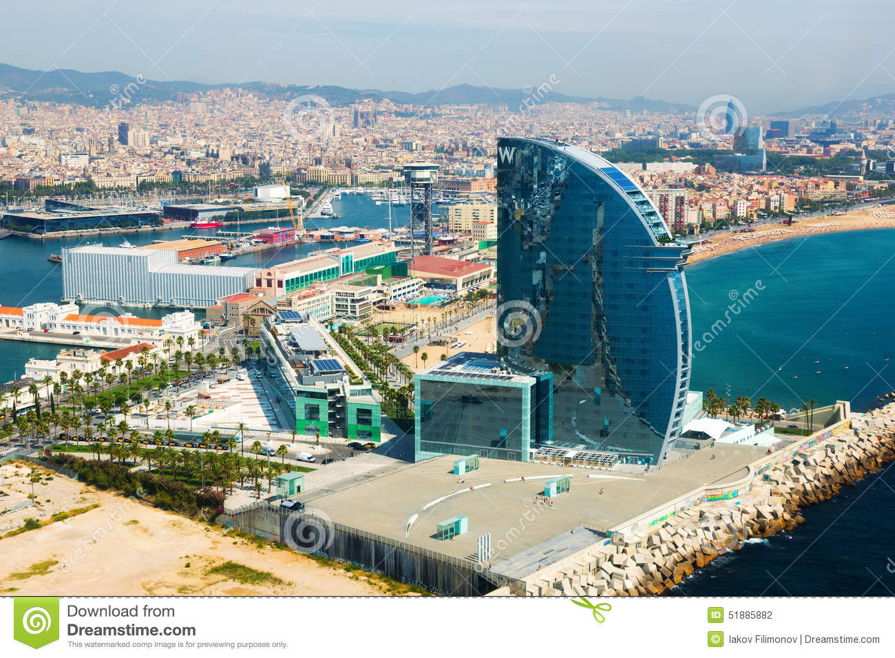 Aerial view of Barceloneta from sea side. Barcelona