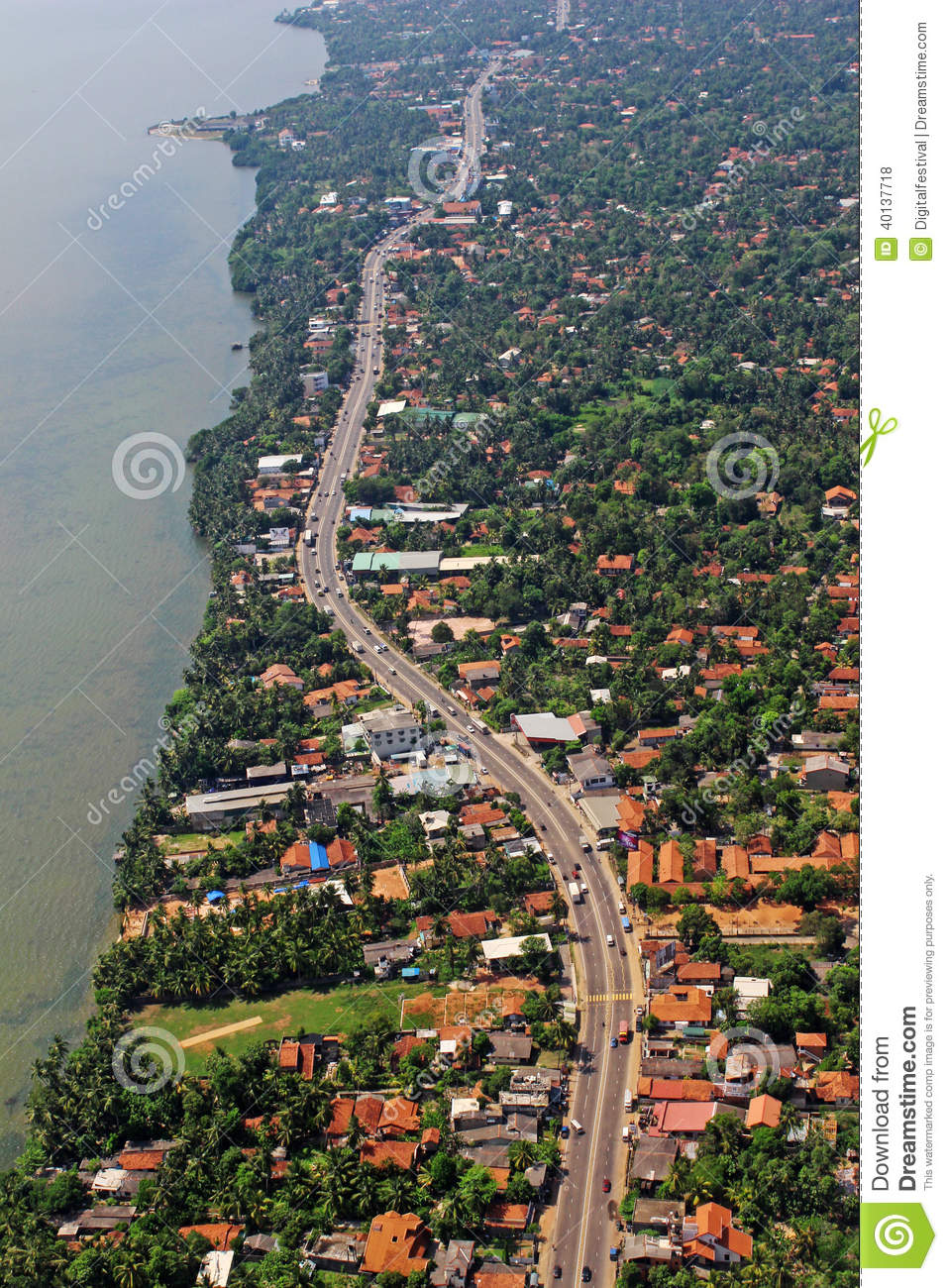 Stock Photo: Aerial View Beach Coastal Highway Tropical Island Colombo ...