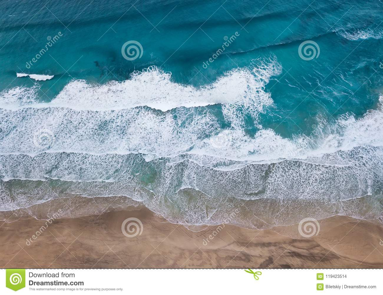 Aerial view on the beach and waves