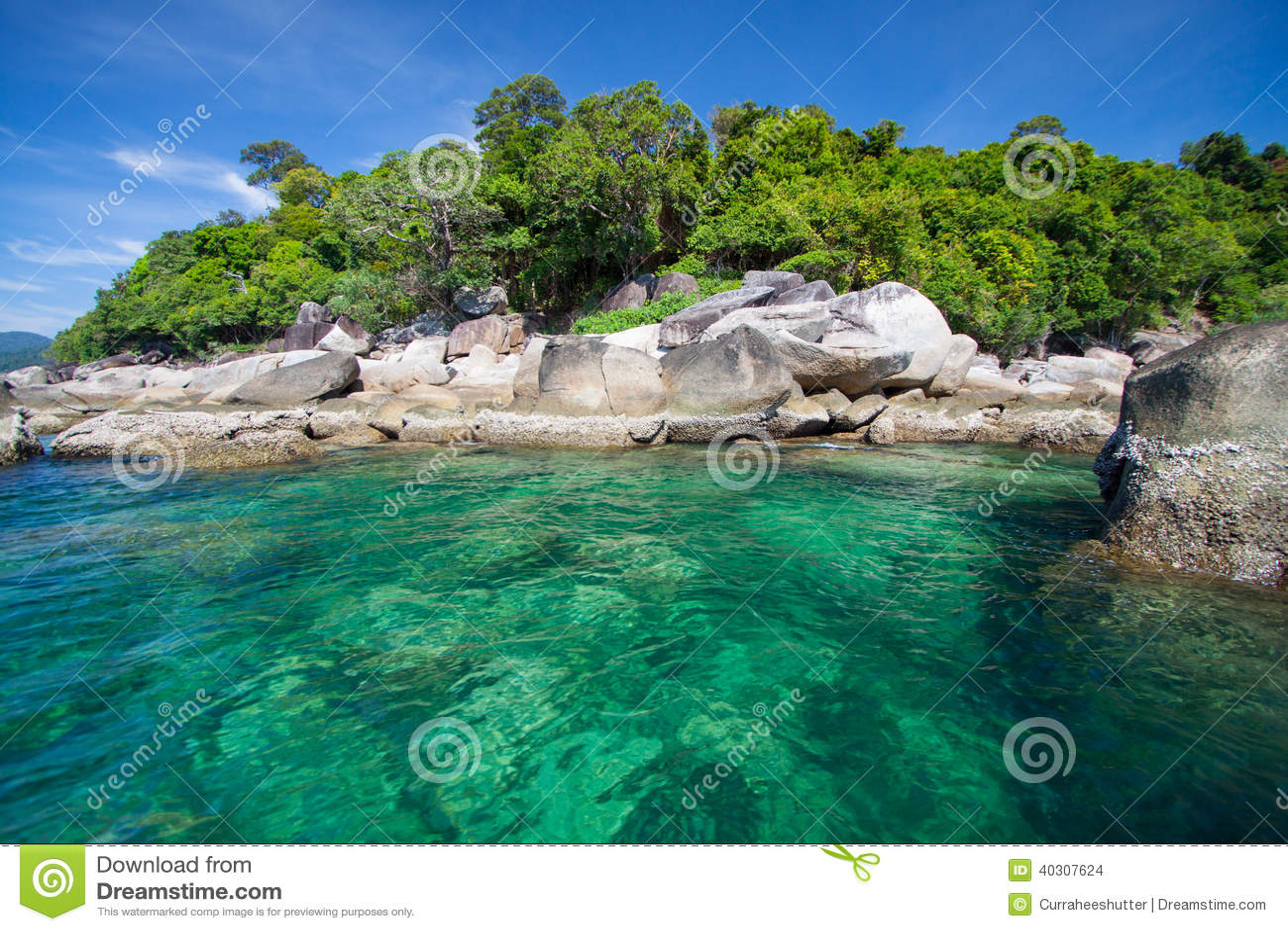 Aerial View Of Beautiful Beach Of Koh Lipe Against Blue Sky In ...