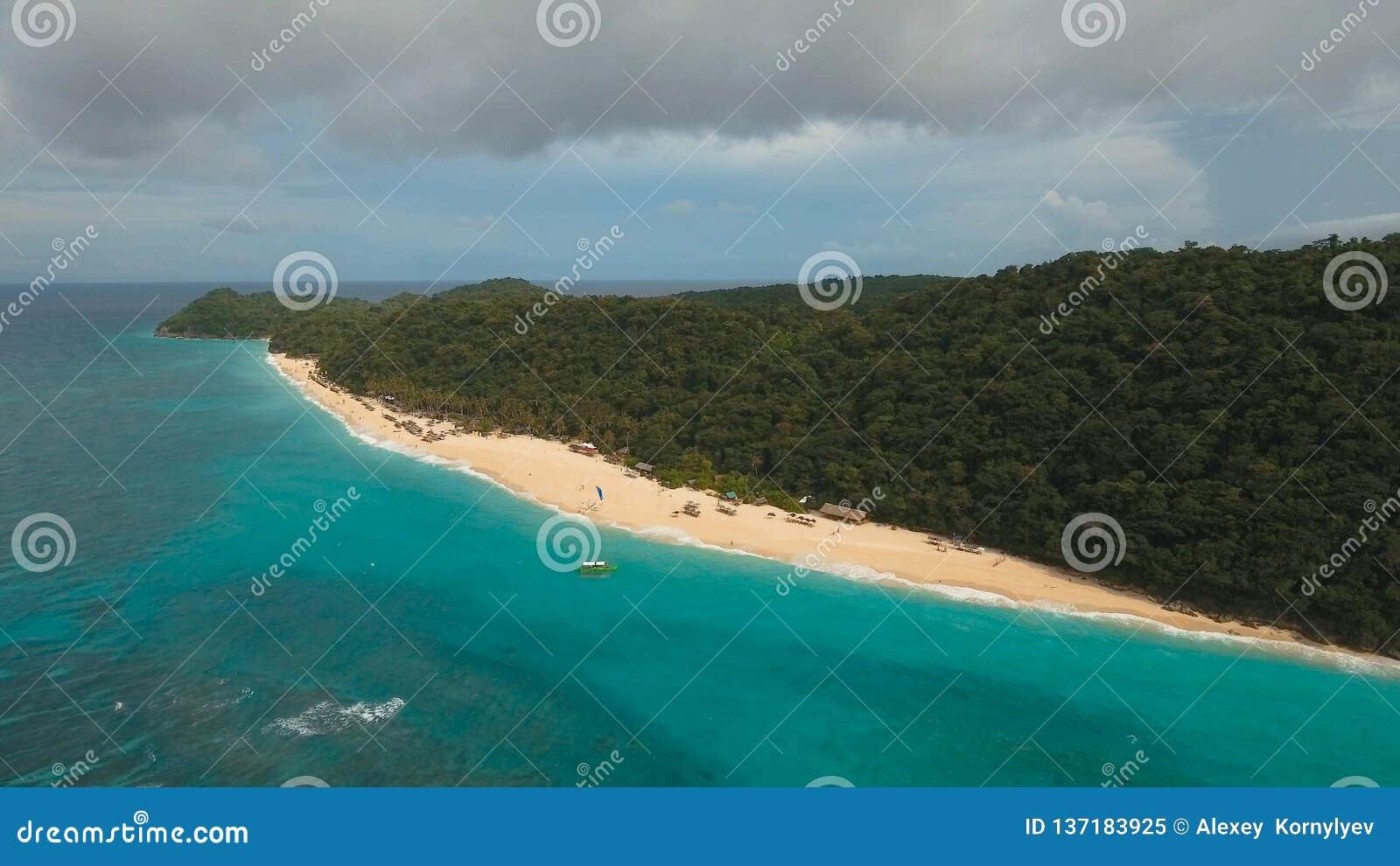 Aerial View Beautiful Beach On Tropical Island Boracay Island