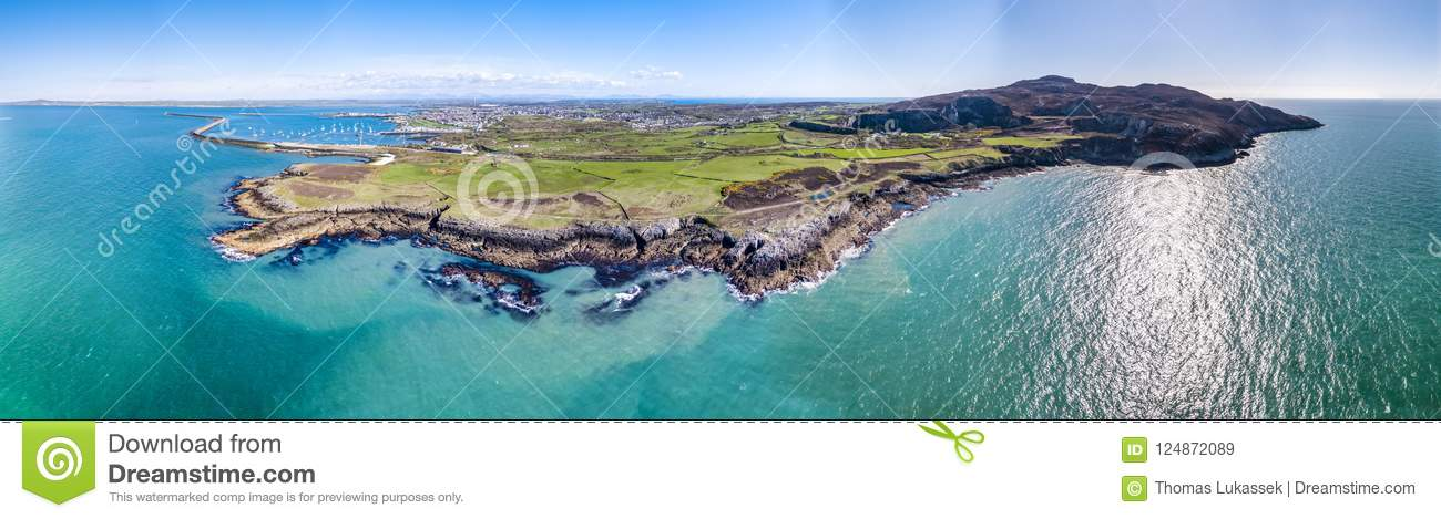 Aerial view of the beautiful coast and cliffs between North Stack Fog station and Holyhead on Anglesey, North wales