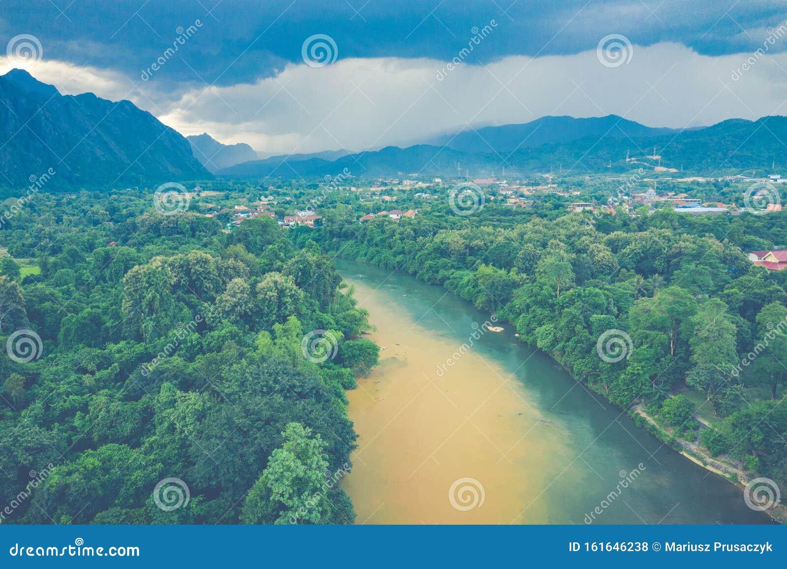 Aerial View Of Beautiful Landscapes At Vang Vieng , Laos