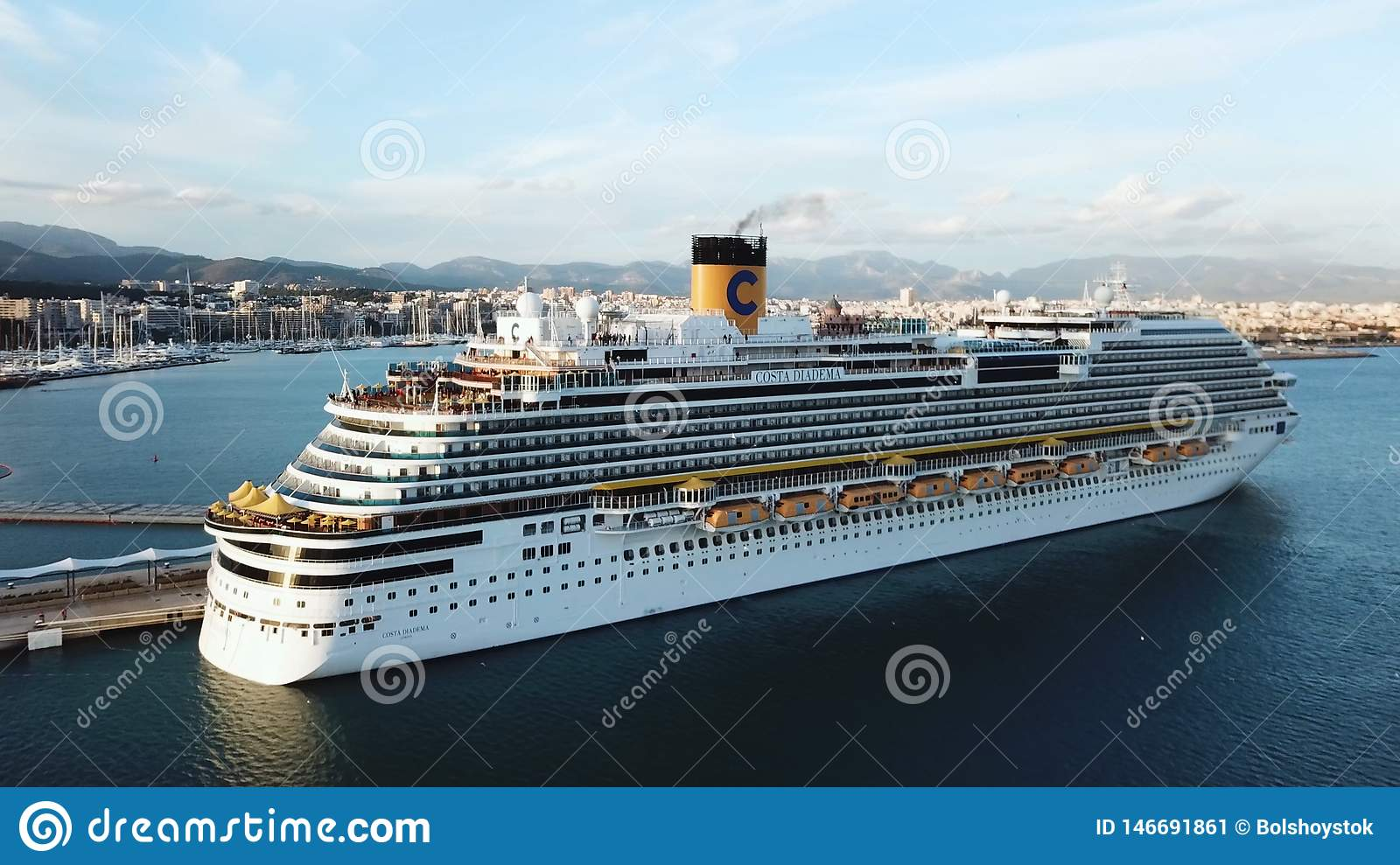 Aerial View Of Beautiful Large White Ship At Sunset Harbor ...
