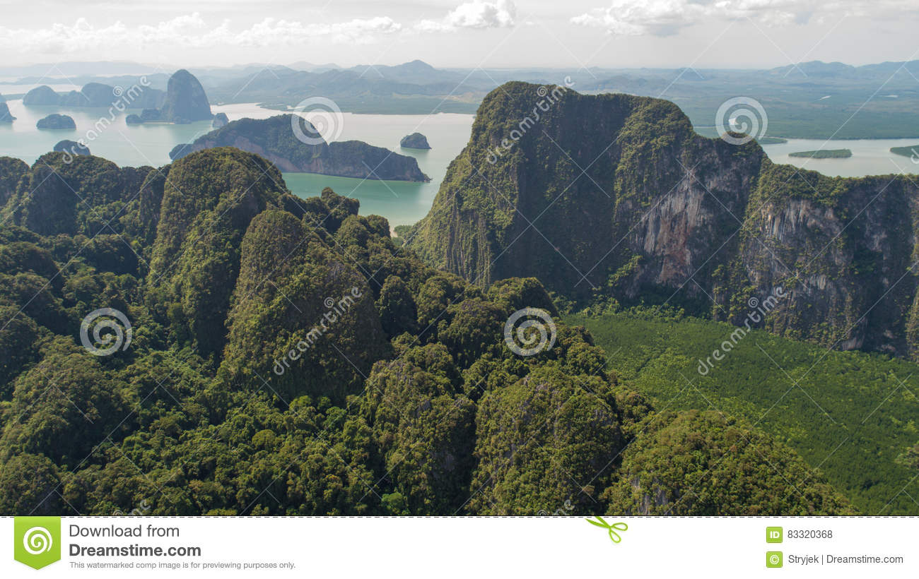 Aerial view of beautiful limestone rock formations in the sea