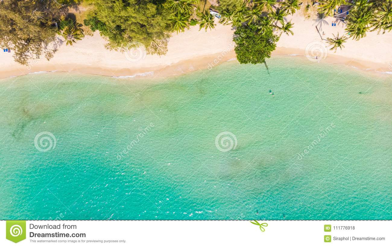Aerial view with sea and beach