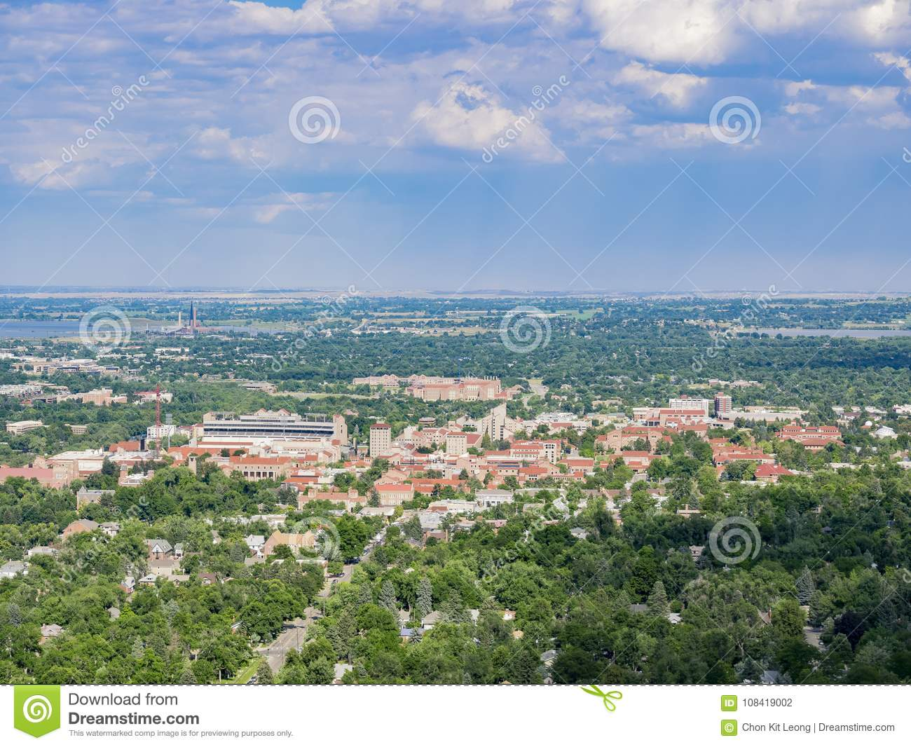 Aerial view of the beautiful University of Colorado Boulder