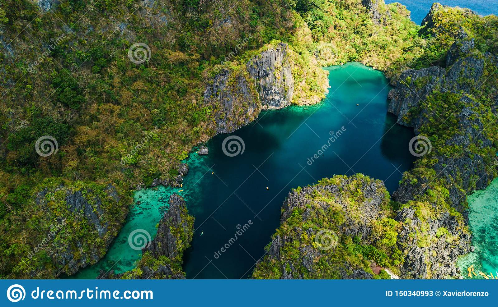 Aerial View Of Big Lagoon In El Nido Palawan The