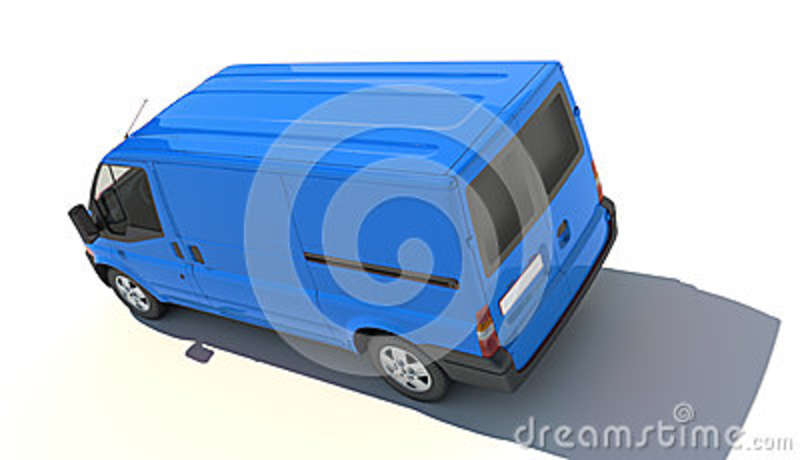 Aerial view of blue van