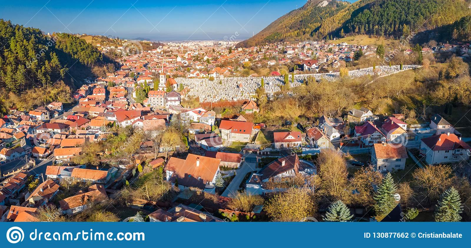 Aerial view of Brasov city