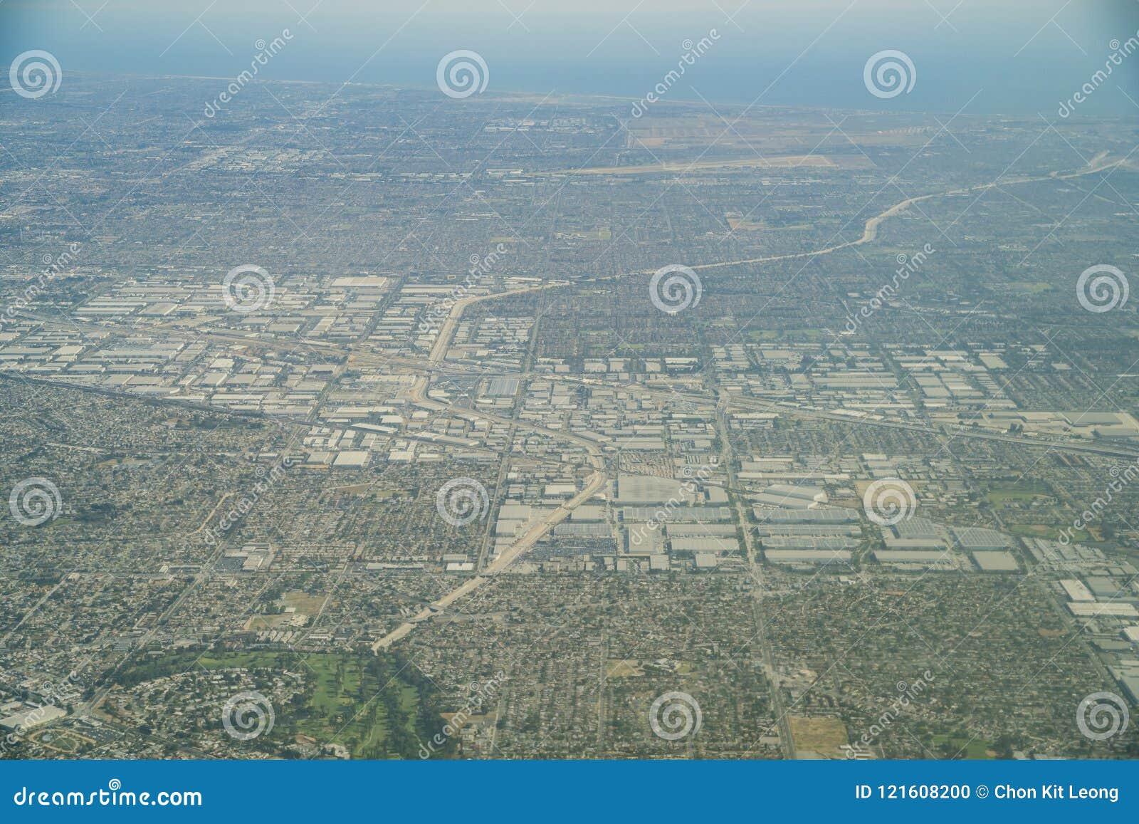 Aerial view of the Buena Park, Cerritos
