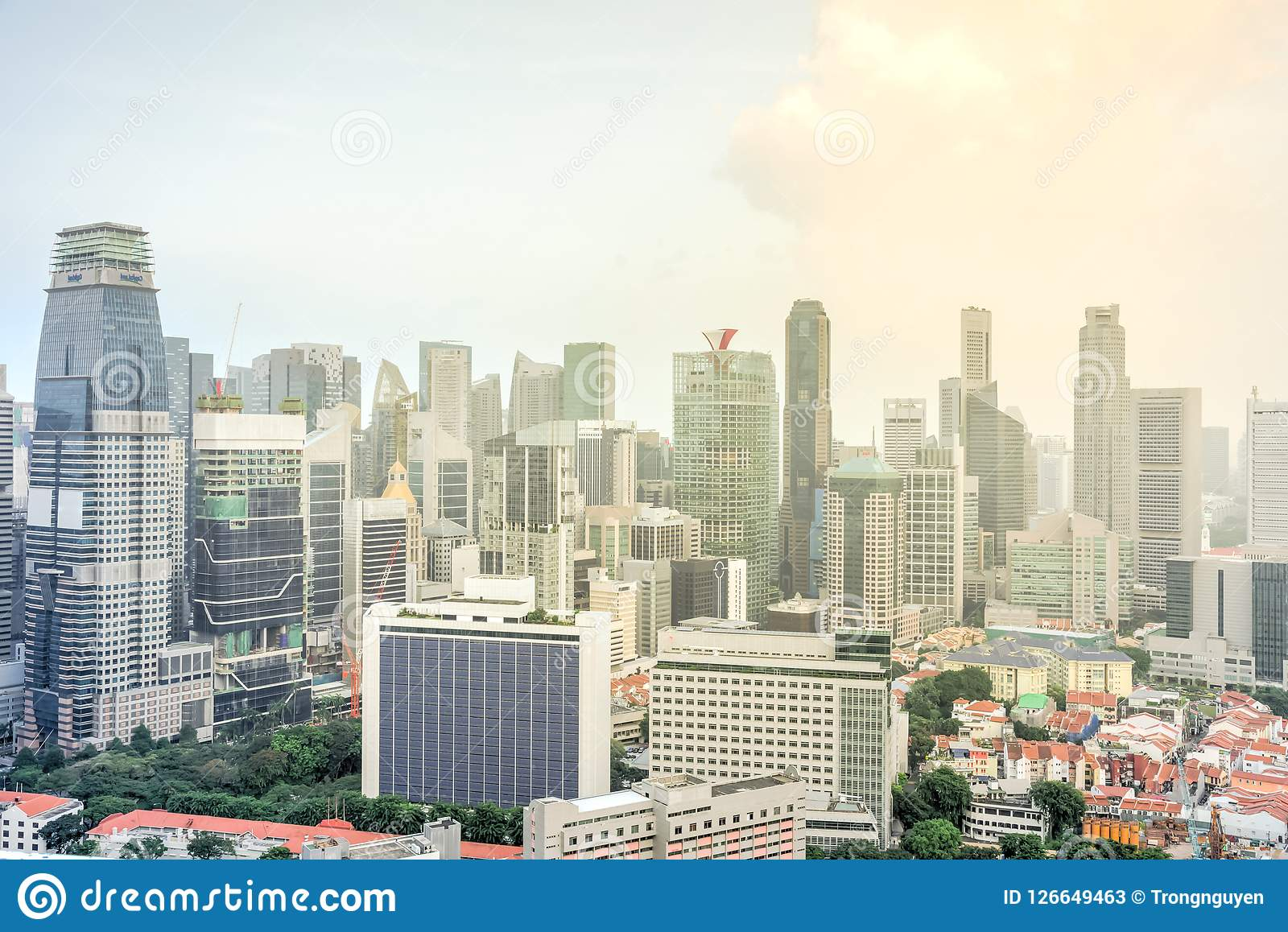Top View Office And Residential Buildings Skylines At