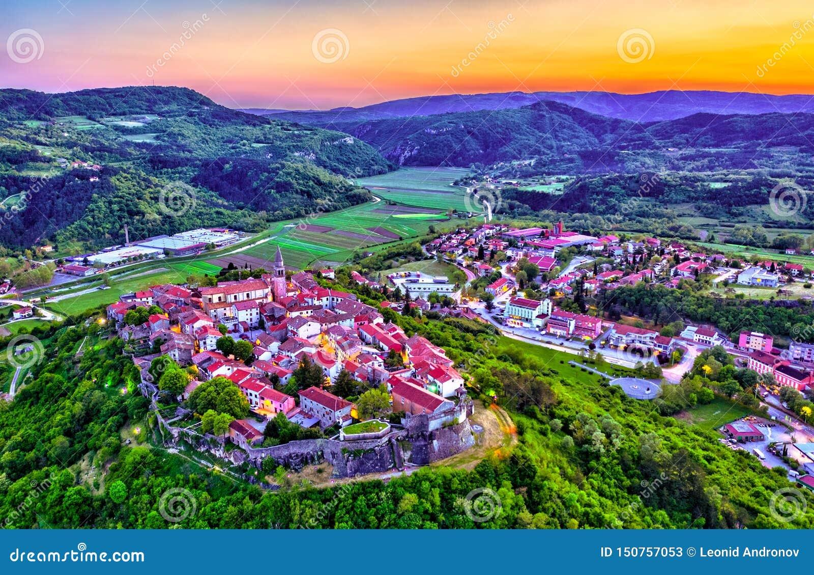Aerial view of Buzet town in Istria, Croatia