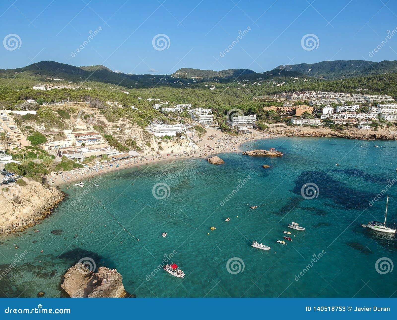 Aerial View Of Cala Tarida, Ibiza, Spain  Stock Image