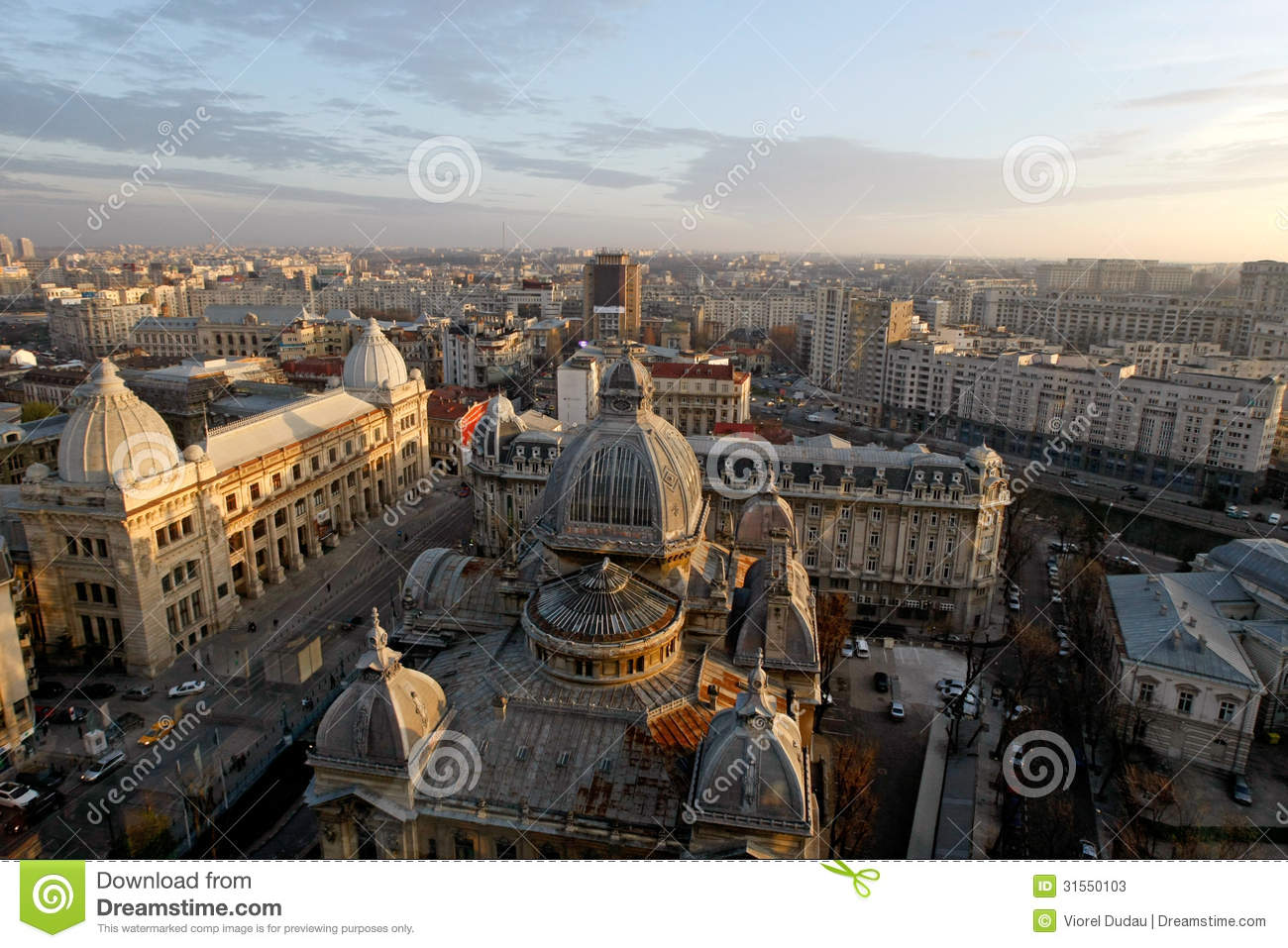 Aerial view of Calea Victoriei and CEC Palace in Bucharest