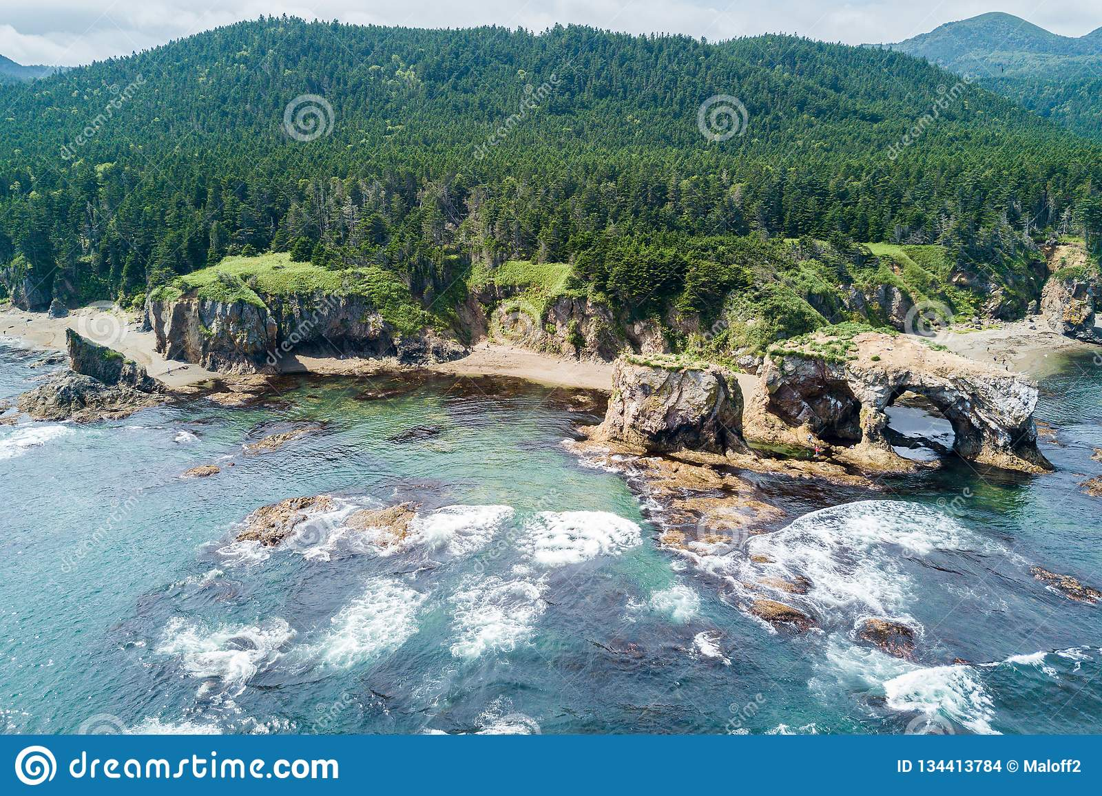 Aerial view of cape Ptichiy near by cape Velikan, Sakhalin island, Russia Sahalin. Wind and sea erosion.