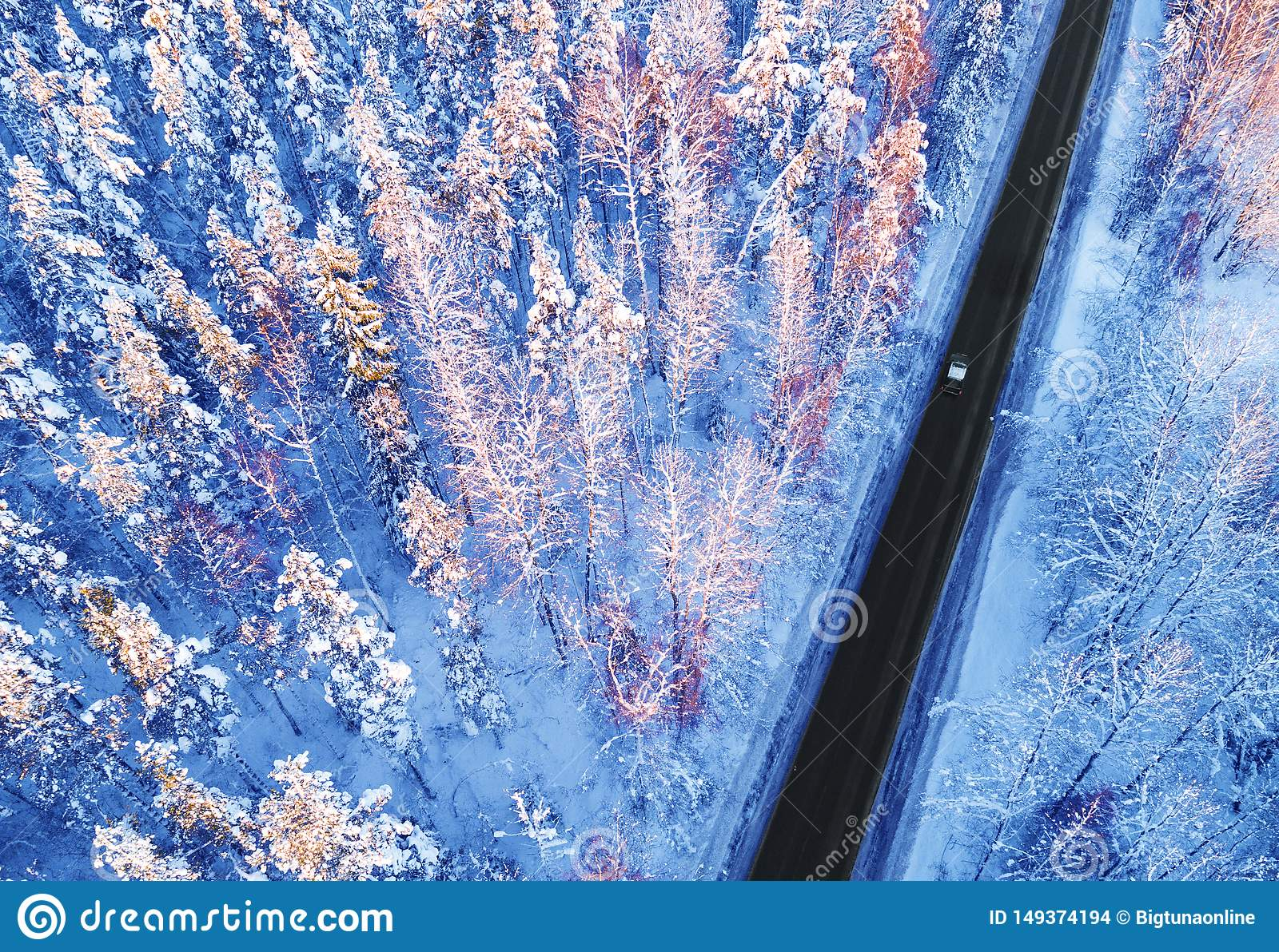 Aerial view of a car on winter road in the forest. Winter landscape countryside. Aerial photography of snowy forest with a car on