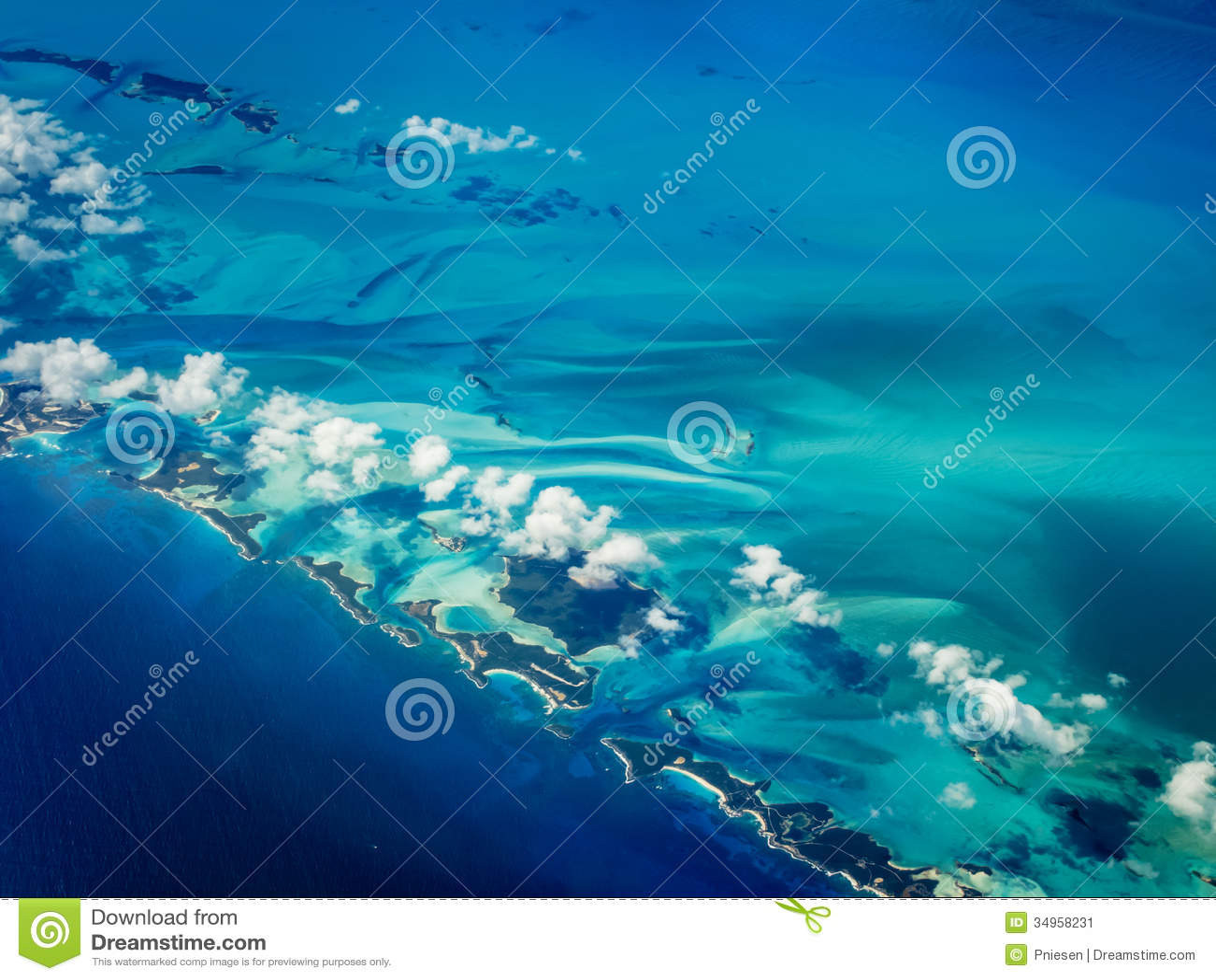 Aerial view of Caribbean islands chain creating a blue desert contour